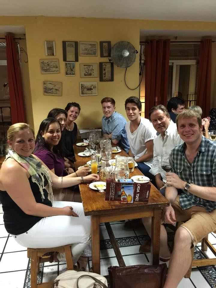 Our lovely food tour group at dinner! Best tapas in Madrid.