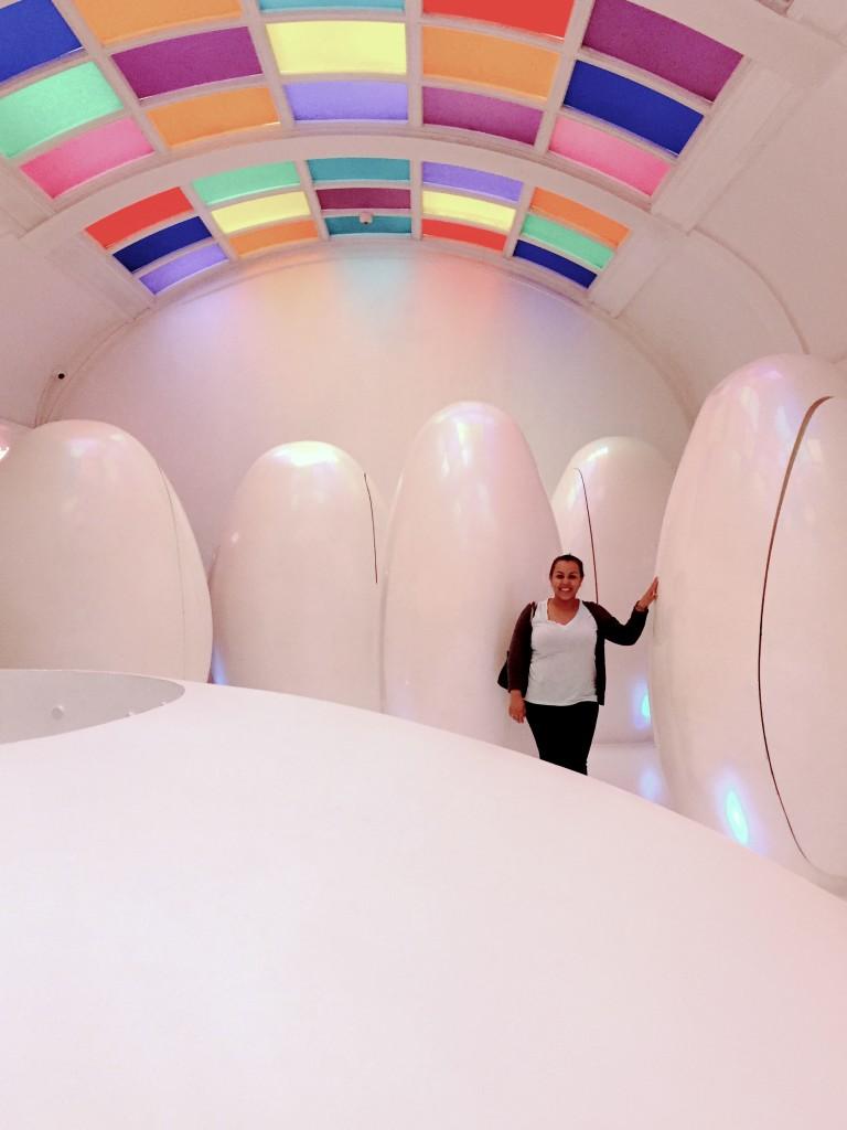 Futuristic bathroom pods. London travel guide