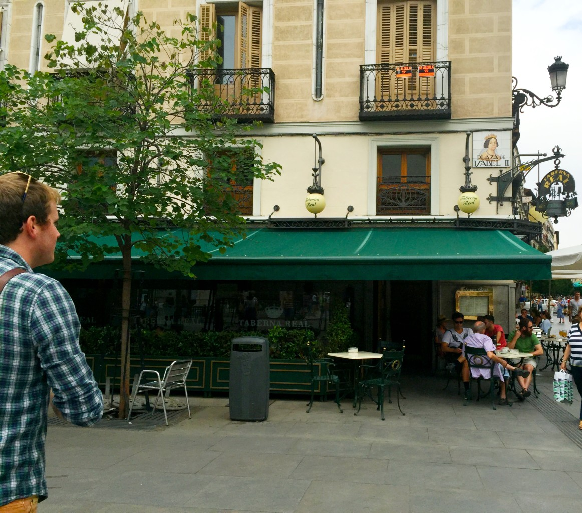 Luke leading us to Taberna Real, our first stop! Best tapas in Madrid