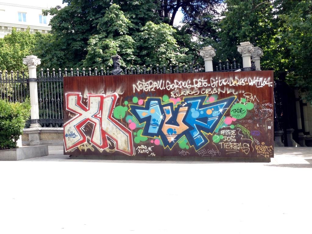 Graffiti wall outside the gardens, Madrid