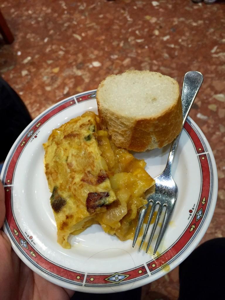 Delicious Spanish tortilla. San Sebastian