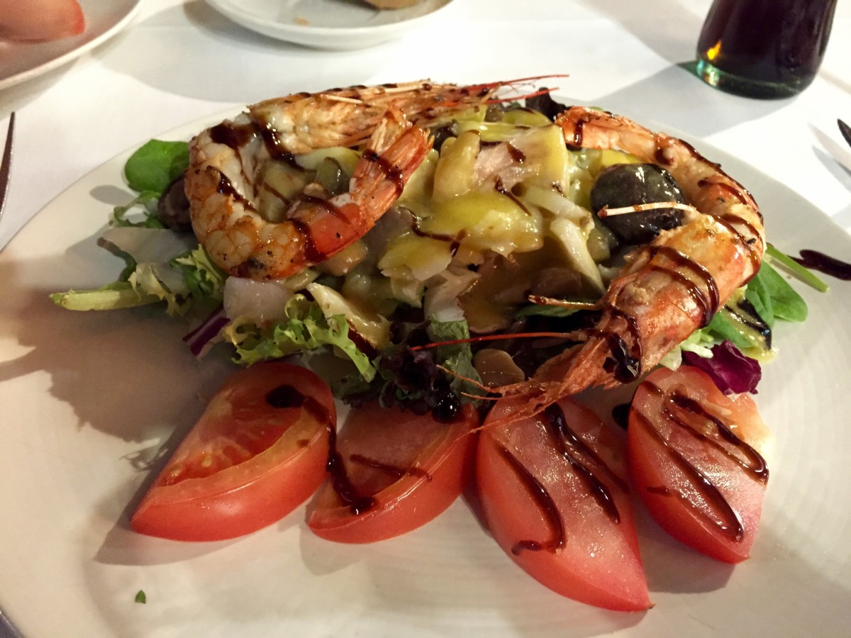 Delicious cod and prawn salad, Bilbao