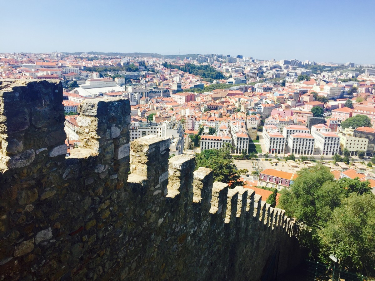The castle walls and views of Lisbon