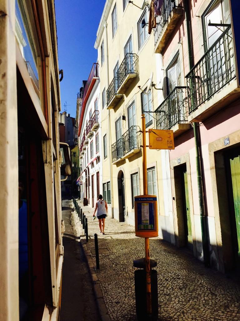 Tram stops in Alfama, Lisbon