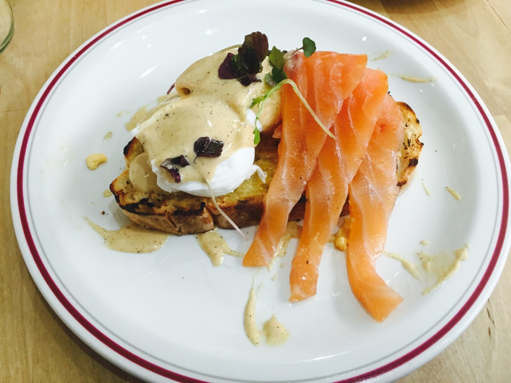 Salmon and poached eggs - delicious!