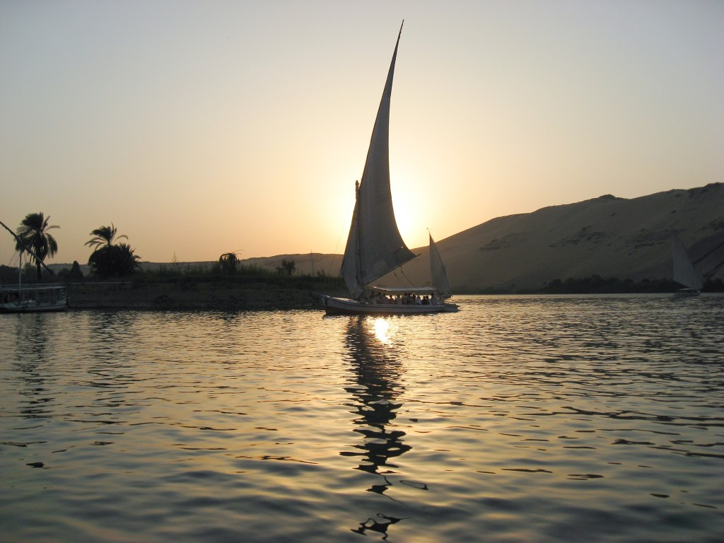 A felucca, a traditional Egyptian sailboat